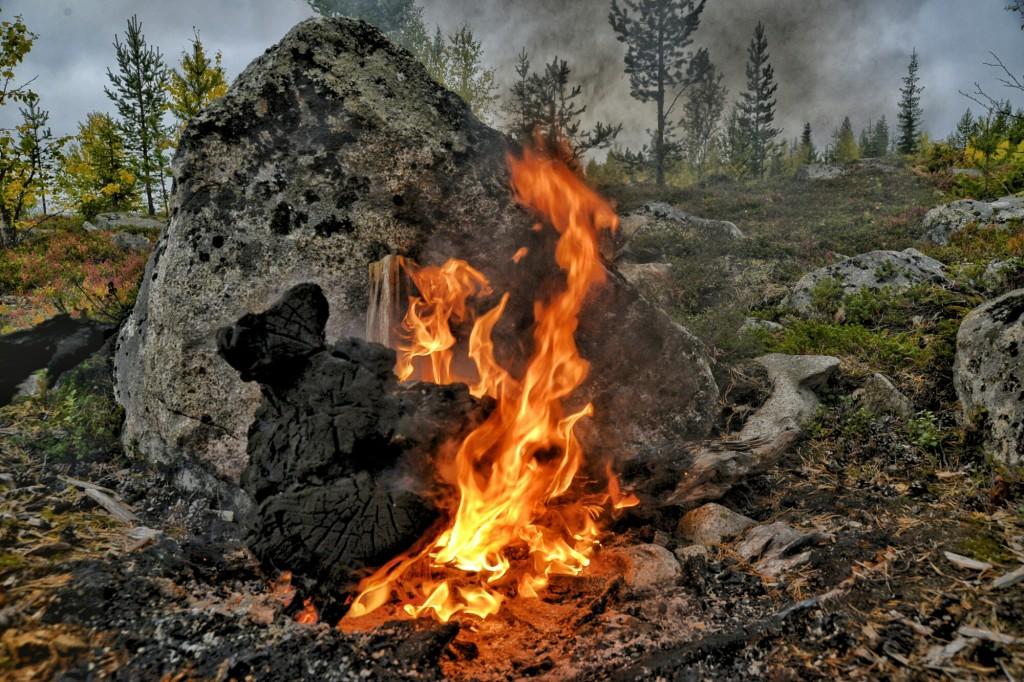 Eld på pass 18. Älgjakt, Biriberget, Sorsele. Foto: Adam Larsson